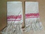 Vintage Lot Of 2 Fringed Linen Tea/kitchen Towels -cream With Red