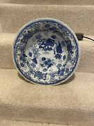 Large Asian Blue And White Serving Bowl Centerpiece Fruit Bowl Scalloped 13.5andrdquo