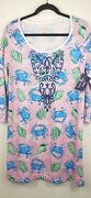 Simply Southern Pink Blue Sleep Shirt Sea Crab Nightgown Size Large New W/t