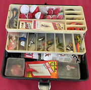 Vintage Old Pal Trout/bass Tackle Box 2 Tray Loaded With Lures Flies Weights