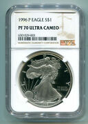 1996-p American Silver Eagle Ngc Pf70 Ultra Cameo No Spots Pristine Coin And Slab