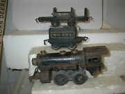 American Flyer Pre-war Engine W/121 Tender And 3006 Log Car For Restore Or Pts