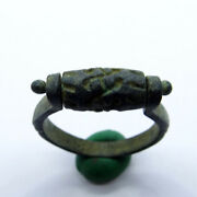 Egyptian Ancient Artifact Bronze Roler Ring With Symbol