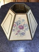 """Hexagon Floral Hurricane Lamp Shade 10.5"""" Vintage Mid Century Gold Frame Paper"""