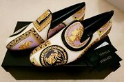 Rare New Versace Leather Shoes Slippers Loafers 40 Greek Barocco Print Italy