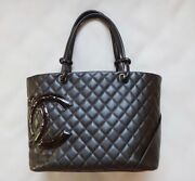 Cambon Line Shoulder Bag Gm Women And039s Tote Hand Dark Brown Secondhan _4135