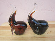 2 Hand Blown Leopard Markings Art Glass Elephants With Ears And Trunks Up