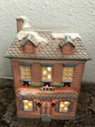 Vtg Christmas Bisque Village Inn 1990 W/ Lighted Cord National Decorations Used
