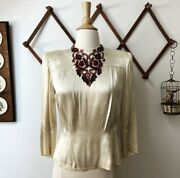 Vintage Folk Antique Silk Beaded Blouse Womens Size Small