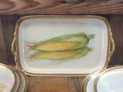 Mcm Noritake Ear Of Corn Hand Painted Luster Cabinet 6 Plates W/serving Platter