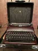 Vintage 1930s Smith Corona Sterling Maroon Typewriter Case Working Bell