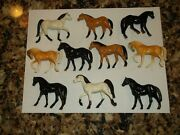 Vintage Lot Of 10 Small Horses Toys Plastic Horse Figures Antique Toy