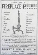 Antique 1898 Ad 1800-17bradley And Hubbard Mfg. Co. Fireplace Furniture