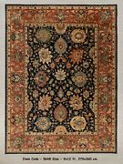 9x12 Navy Red Vintage Finish Retro High Quality Hand Knotted Wool Rug 5648