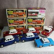 Set Of Red And Blue Passenger Cars Taxis With Box Tinplate Until Car