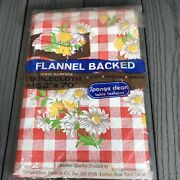 """Vintage Red White Plaid Flannel Back Vinyl Tablecloth Flower Picnic 52""""x70"""" New"""