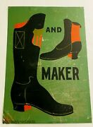 Antique Hand Painted Advertising Boot Maker Trade Sign - American Folk Art
