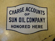 Vintage 30and039s Sun Oil Company Porcelain 2-sided Charge Account Sign Super