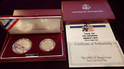 Us Mint 1992 Olympic Coins Two-coin Proof Set Silver Baseball/gymnastic Box Coa