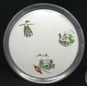 Cool Vintage Tray Revere Pewter Porcelain Golf Cartoon Caricatures Paul Fennell