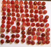 Lot Of 100 Vintage Czech Red Glass Buttons