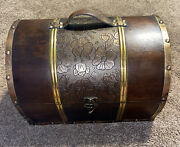 Wooden Embossed Leather Round Top Treasure Chest Storage Trunk Decorative Box