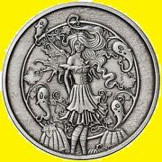 5 Oz Antique Amy Brown Collection Haunted Pumpkin Patch Silver Round New W/ Coa