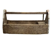 Vtg Very Huge Antique Primitive Wooden Tool Box Carrying Caddy 13andrdquox32andrdquox16 Rare