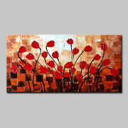 100 Hand Oil Paintings On Canvas Many Red Flowers Hotel Decoration Wall Art