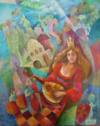 The Queen Of Chess Original Oil Painting Signed By Artist 2004