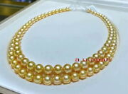 Long Aaaaa 3611-12mm Natural Real South Sea Golden Pearl Necklace 14k Gold