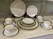 Lenox Oxford Annapolis Blue 4 Five-piece Place Settings And Additional Pieces