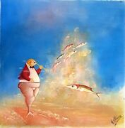 Collectible Haitian Art Painting Famous Andre Blaise Fishes Reefs Haiti 16x16