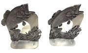 Pair 1980 Metzke Pewter Large Mouth Bass Bookends Made In Usa Fish Art Deco 6andrdquo