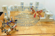 Papo Schleich Lot Warriors Knights Horses Fantasy Figures With Castle Block Set