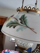 Converted Gas Lamp Chandelier Hand Painted Floral Shade
