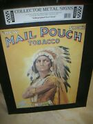 1995 Mail Pouch Chewing Tobacco Metal Sign Indian Advertisement New On Board Oop