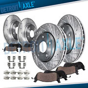 Front And Rear Drilled Brake Rotors + Ceramic Brake Pads For 2004 - 2008 Acura Tl