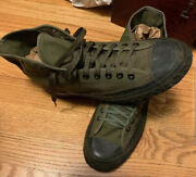 Vintage 40s Wwii U.s. Army Canvas Sneaker Combat High Top Shoes. Size Us Men 6.5
