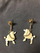 Lunch At The Ritz Poodle Snacks Pierced Earrings New And Fabulous