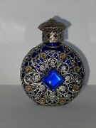 Vintage Czech Perfume Bottle In Rich Cobalt Blue, Filigree, Lovely And Unique