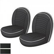 New Front Seat Cover Kit Black W/ White Triumph Tr3 Tr3a Tr3b Early Tr4 642-045