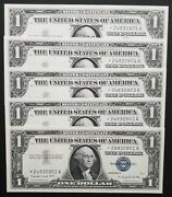 Fr 1620 1957a 1 Silver Certificate Star Notes 5 Consecutive Gem Or Better