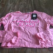 Fashion Nova Its Not Me Its You Long Sleeve Size L In Pink
