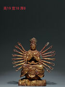 China Tang Dynasty Old Buddhism Gilt Copper Thousand Hand Buddha Statue Ornament