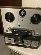 Lot Of Akai X-360d Reel To Reel Tape Deck W/ Wood Cover