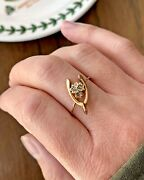 Antique 9k Gold 3 Rose Cut Diamond Wishbone Ring Pin Conv. Band Lucky Maple Leaf