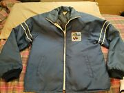 Vintage Ford Mustang Shelby Cobra Jacket 1970and039s Sz S M Blue No Strip Quilted