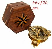 Vintage Brass Sundial Compass Antique Nautical Marine Compass With Wooden Box