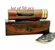Vintage Brass Handmade Leather Wrapped Antique Kaleidoscope With Lot Of 50 Pcs